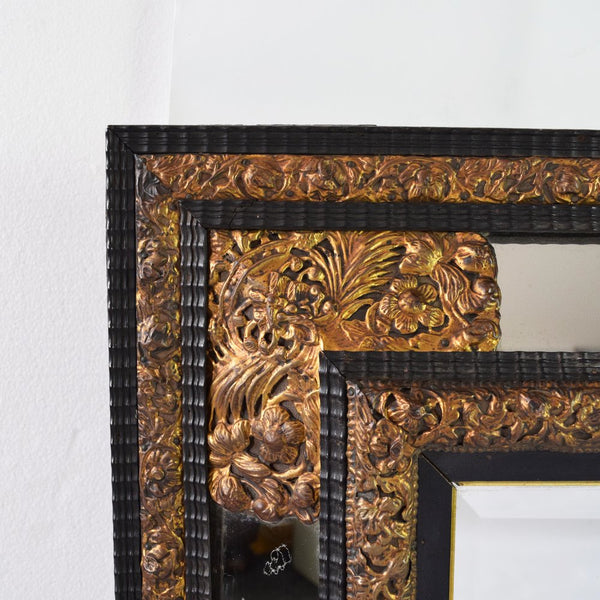 Antique Dutch Repousse and Ebony Cushion Mirror  Close up