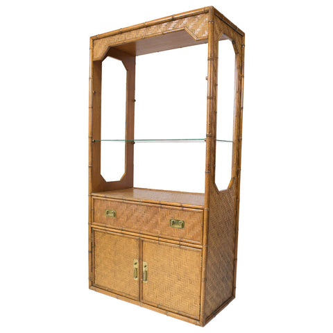 Vintage Faux Bamboo & Rattan Cabinet
