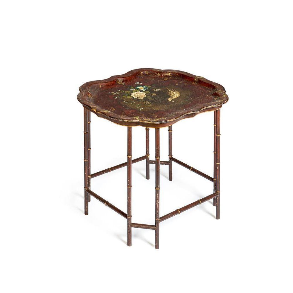 Victorian Red lacquer Papier Mache tray Table