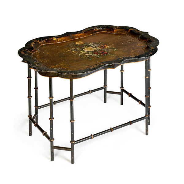 Antique Victorian black lacquer papier-mâché occasional Table