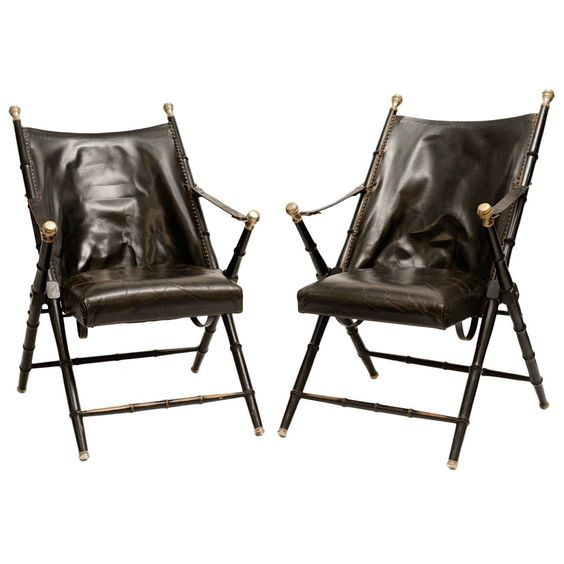 Vintage Pair of Valenti Italian Leather Campaign Chairs
