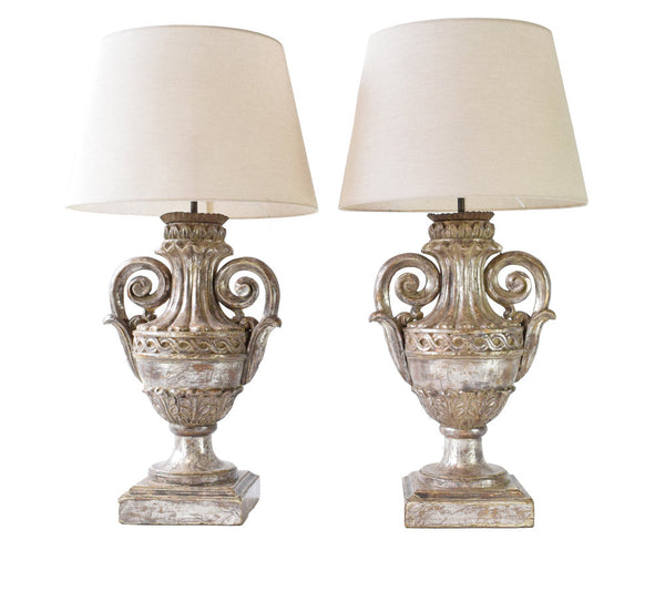 Antique Pair of classical Florentine carved and partially silvered wooden urn Lamps
