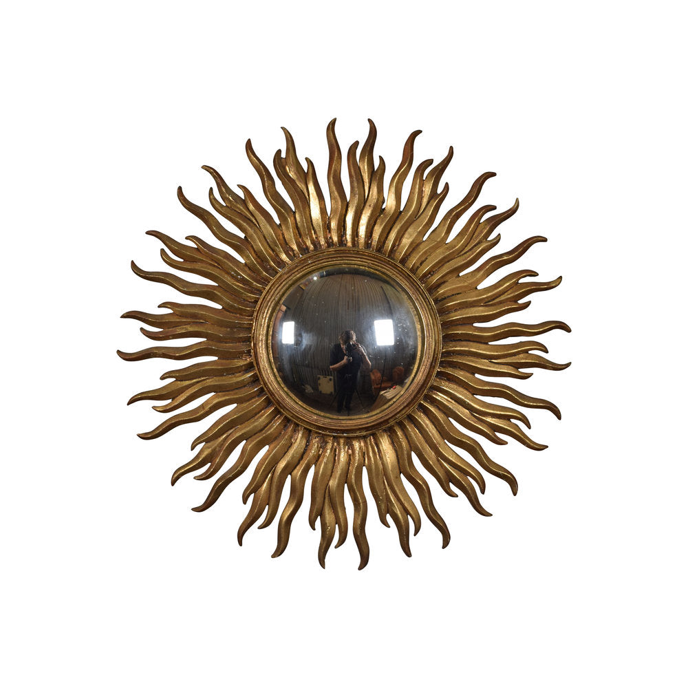 French Vintage Convex Starburst Mirror