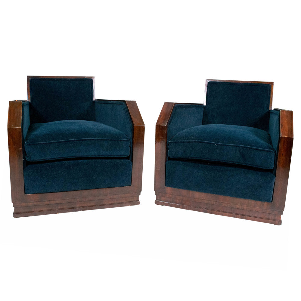 Pair of Art Deco Style Rosewood Amrchairs