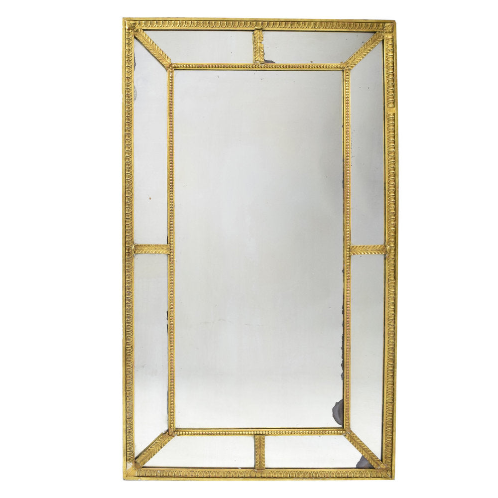 Antique English Edwardian Neo-Classic panelled Giltwood Mirror
