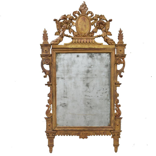 Antique French Louis XVI period Carved and Giltwood Mirror