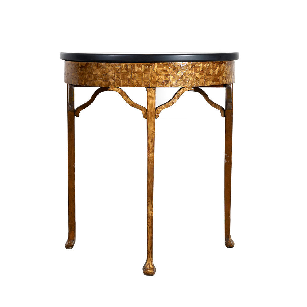 Antique Marble top Marquetry demi-lune side table,