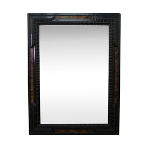 Dutch Ebonised Ripple Frame Mirror with Faux Walnut