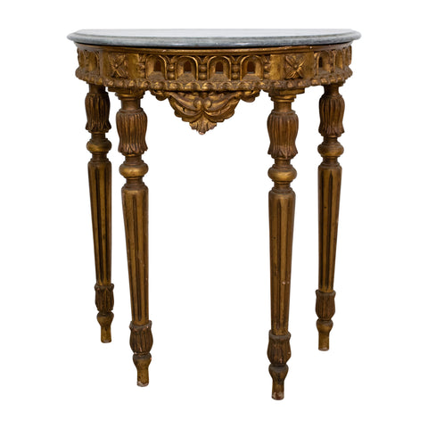 A Small Marble Topped French Giltwood Demi-Lune Table