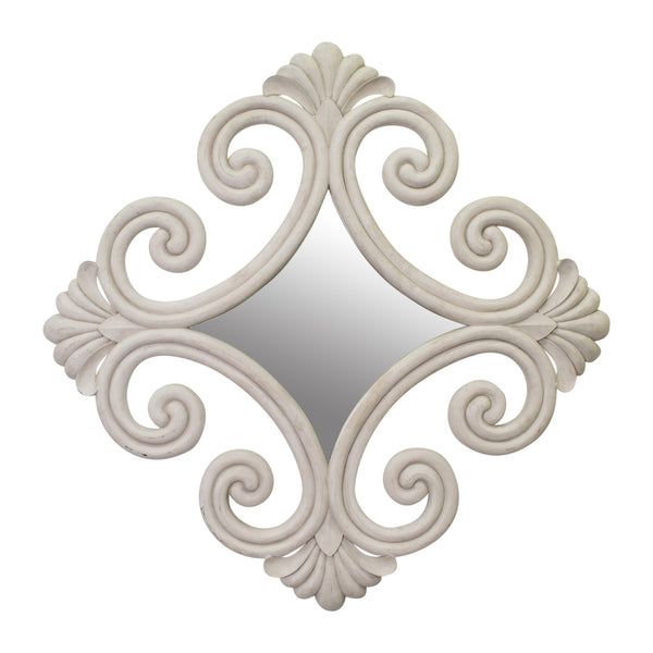 A Large French Carved Scroll Mirror