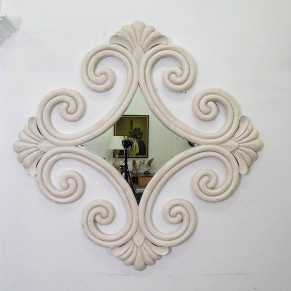 A French Carved White Painted Timber Mirror