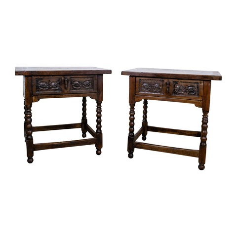 A Pair of 18th Century Style Spanish Walnut Side Tables/Bedsides