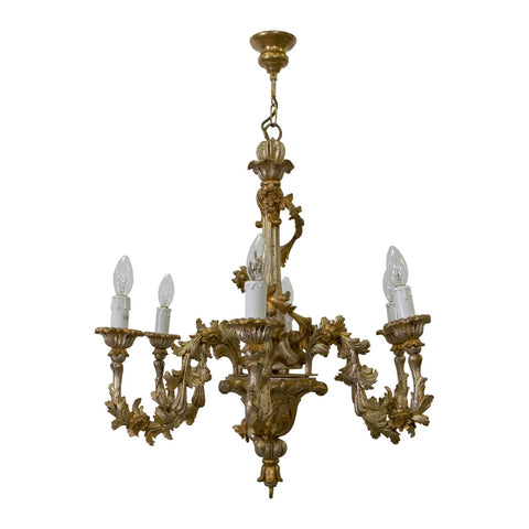 A Florentine gilded 6 Light Chandelier