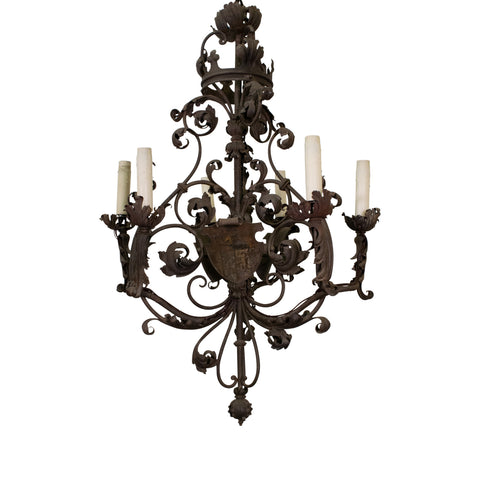 A fine Antique Forged Iron Chandelier