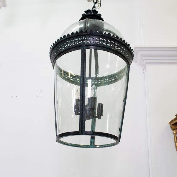 Large French Circular Tapered Lantern in Aged Brass with Three lights
