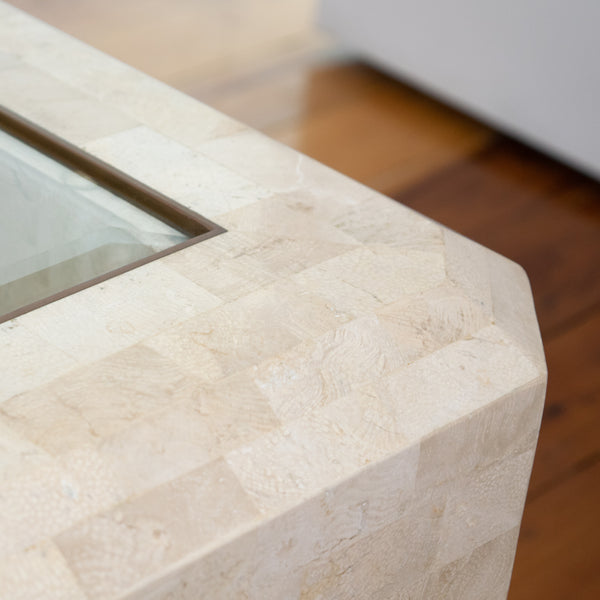 A 1970s Maitland-Smith Tessallated Coral Stone Coffee Table
