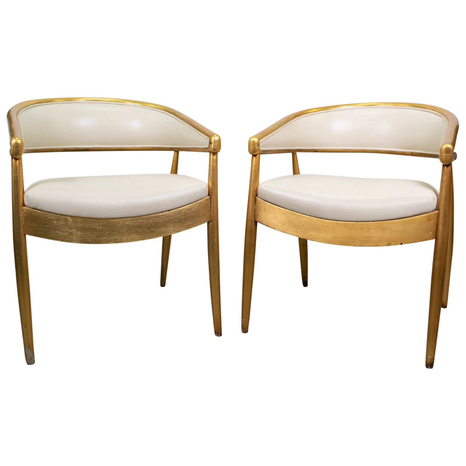 Pair of Giltwood Gaming Chairs by James Mont