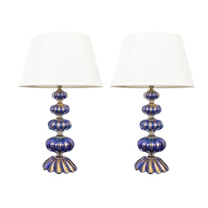 Pair of Mid-Century Blue Murano Lamps