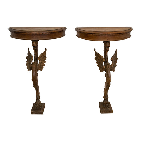 Pair of Antique French Walnut Griffin Consoles
