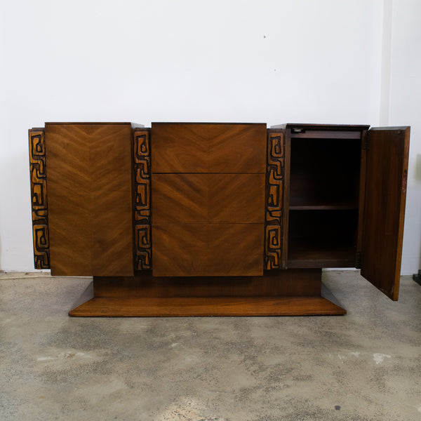 A Mid-Century Walnut United Furniture Company Brutalist Credenza