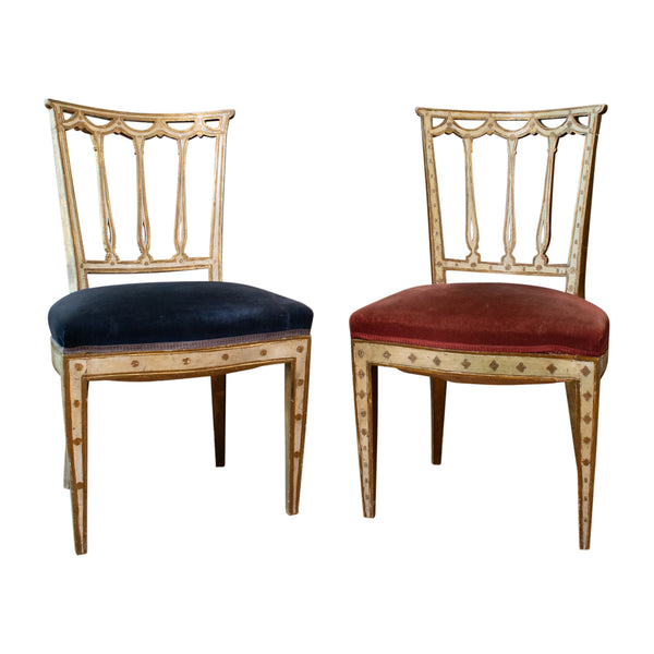 Near Pair of 19th Century Italian Neo Classical Painted and Parcel-gilt Chairs