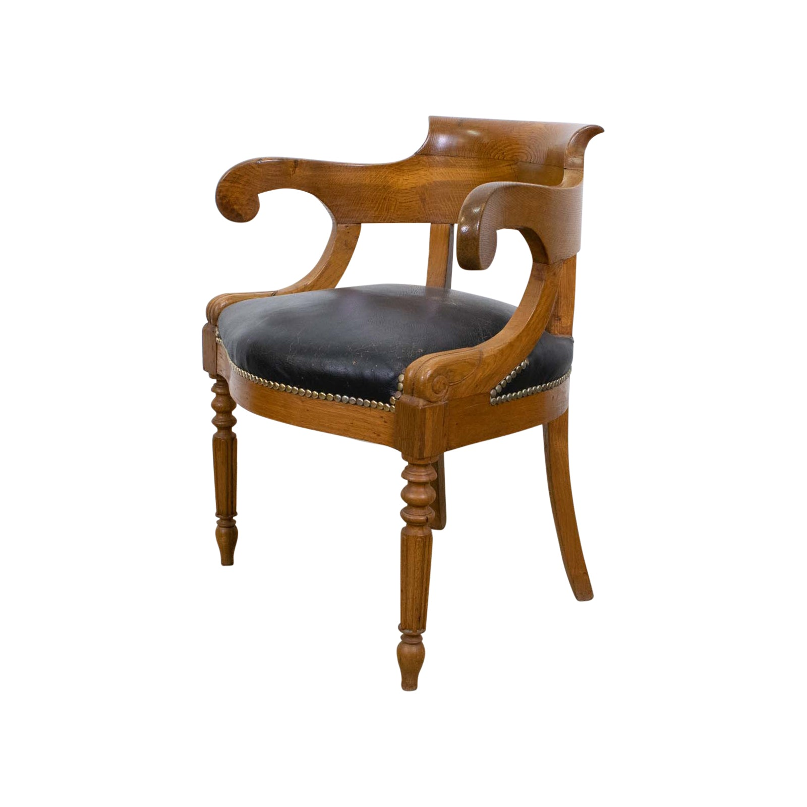 Empire Style French Oak Horseshow Desk Chair