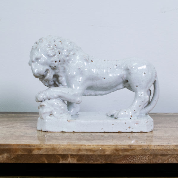 19th Century White Glazed Majolica Lion