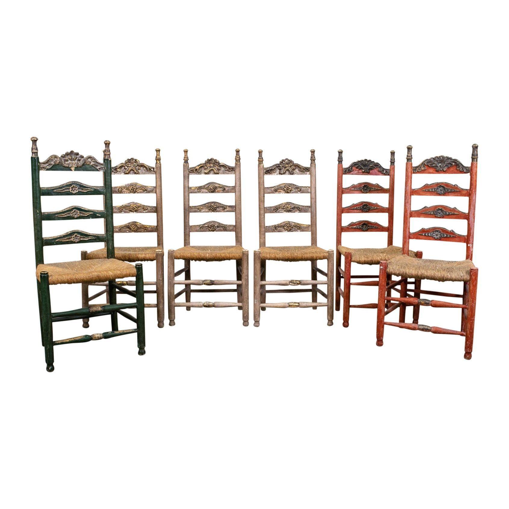 Antique set of 6 Spanish Polychrome Painted and Rush Caned Chairs