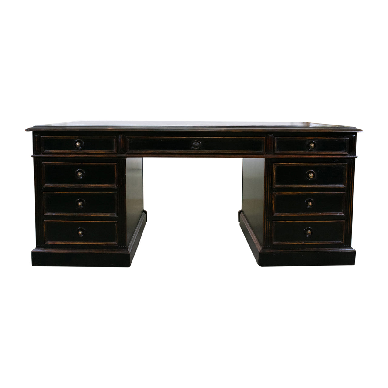 A Napoleon III Ebonised Pedestal Desk