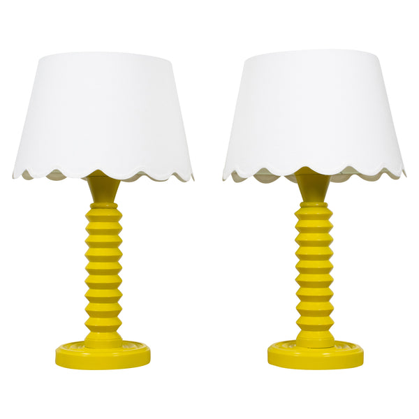 Pair of Yellow 1930s Turned Wooden Lamps