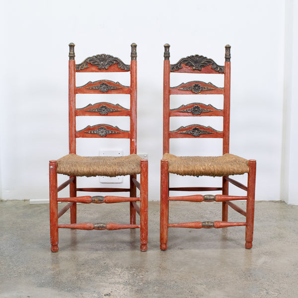 Red Spanish Polychrome Painted and Rush Caned Chairs