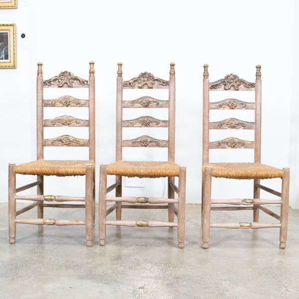 camel Spanish Polychrome Painted and Rush Caned Chairs