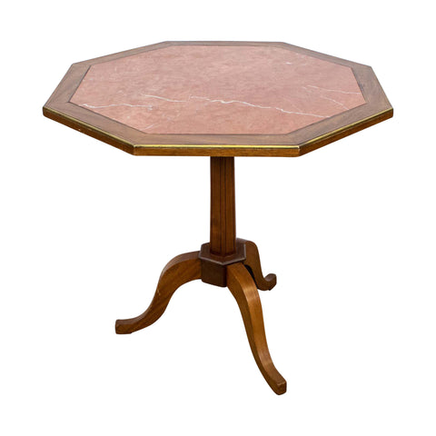 French Octagonal Side table Inset with Verona Marble