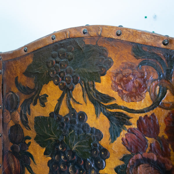 A Four fold 19th Century Embossed and Painted Spanish Leather Screen