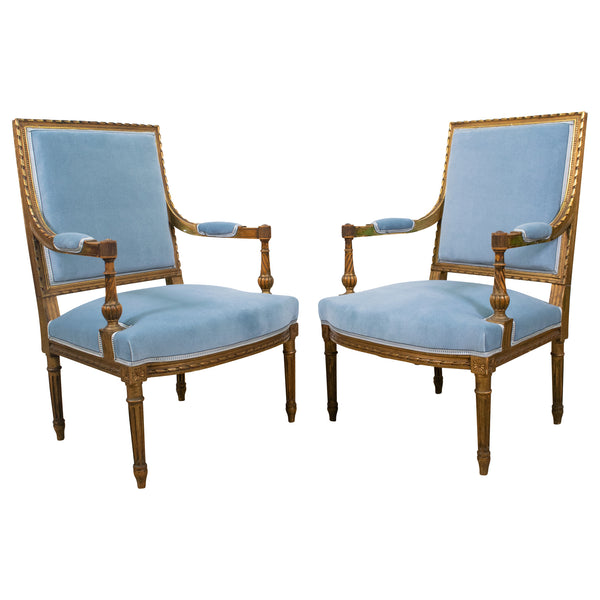 Pair of Antique Louis XVI Giltwood Armchairs