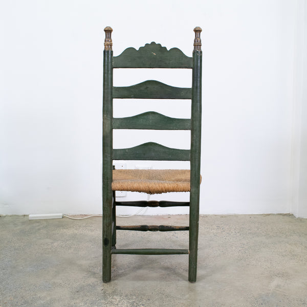 Green Spanish Polychrome Painted and Rush Caned Chairs