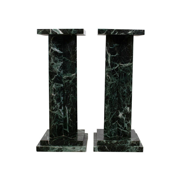 Pair of Art Deco Style Green Marble Pedestals