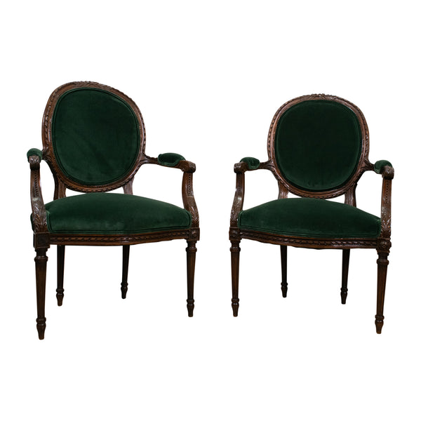 Pair of French Antique Louis XVI Walnut Armchairs