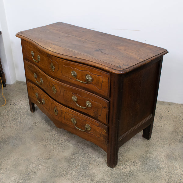 A Mid-18th Century Louis XV Bow Fronted Walnut Commode