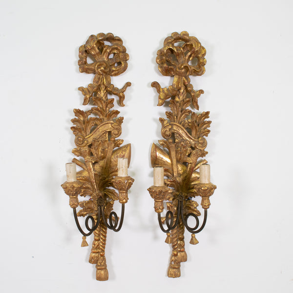 Pair of Italian Neo-Classical Giltwood Wall-Sconces