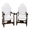 Antique Pair of Spanish Baroque Style Walnut Armchairs