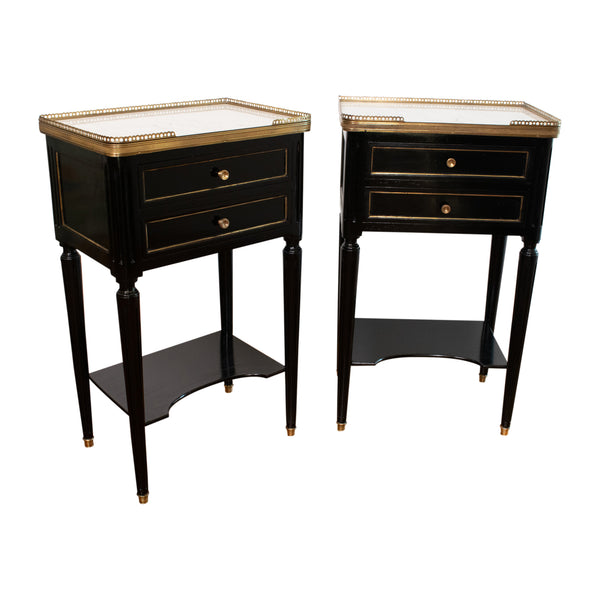 A Pair of Ebonised Louis XVI Style Bedside Tables