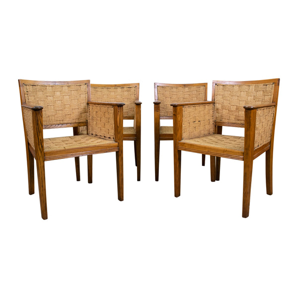A Set of Four French 1920s Oak and Rope Chairs