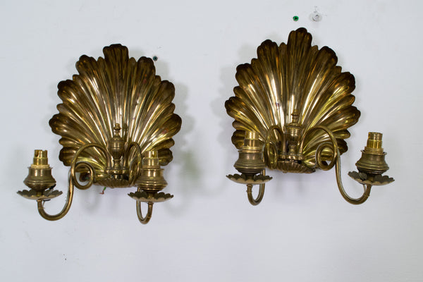 Pair of 19th Century English Brass Shell Sconces