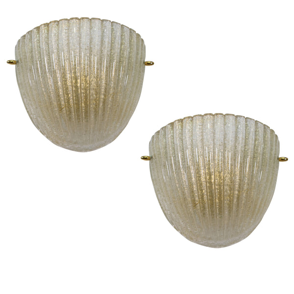 "Murano Shell Wall Sconces with ""Avventurine"""