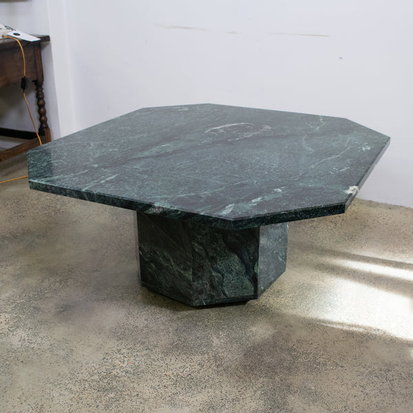 Vintage Octagonal Verde Marble Coffee Table