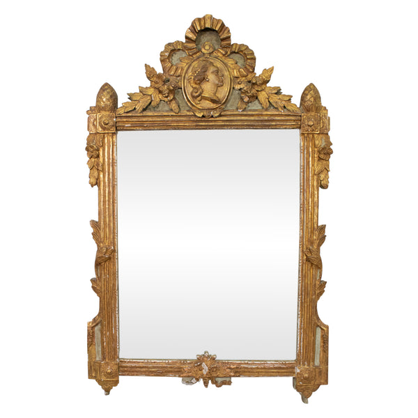 Louis XVI Period Blue-Painted & Gilt-Wood Mirror