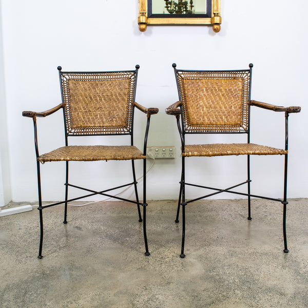 Pair of Mid-Century Iron and Cane Chairs