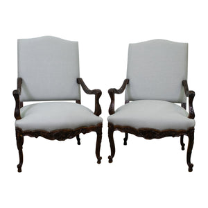 A Pair of 19th Century Régence Style Walnut Fauteuils
