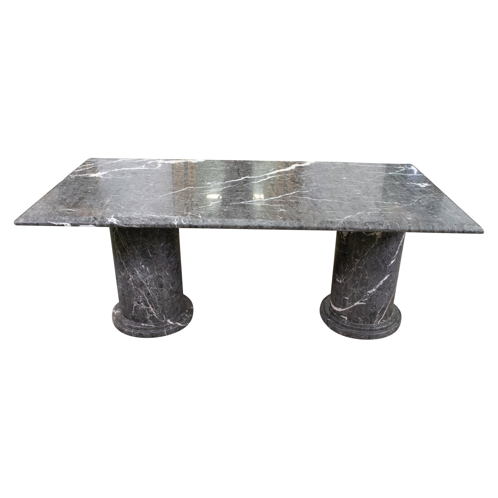 Twin Pedestal Grey Marble Table